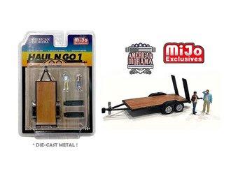 American Diorama 1:64 Figures - Haul N Go Trailer Set 1 w/2 Figures