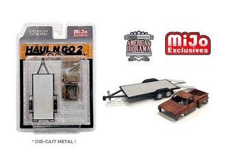 American Diorama 1:64 Figures - Haul N Go Trailer Set 2 w/Rusted Truck Body
