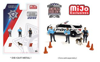 American Diorama 1:64 Figures - Metro Police Figures w/K-9 Dog