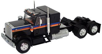 1:64 1977 Chevrolet Bison Sleeper Cab Tandem Axle Road Tractor (Black w/Stripes)