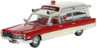 1:43 1966 Cadillac S&S Ambulance (Red/White w/White Roof)