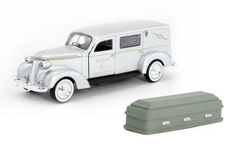 """1:43 1937 Studebaker Hearse """"Rodgers Funeral Home"""" (Silver) w/Casket"""