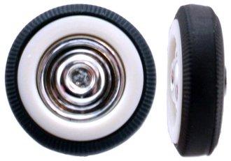 Automobile Tires - 1950's Whitewalls w/Chrome Hubcaps (8) (5mm x 17mm)