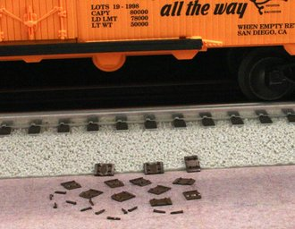 1:48 Railroad Tie Plates (10) & Rail Spikes (10)