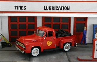 """1953 Ford F-100 Pickup """"Gilmore Roar Gasoline"""" w/Tire Load"""
