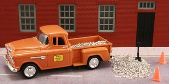 """1955 Chevy Pickup """"State Highway Dept."""" w/Gravel Load, Shovel & Safety Cones (2)"""