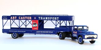 "1:43 1956 Ford F-600 w/Auto Trailer ""Art Castor"" (Blue)"