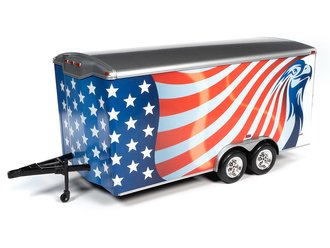 1:18 Enclosed Trailer (Red/White/Blue)