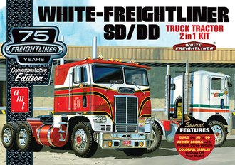 1:25 White-Freightliner 2-in-1 Single/Double COE Tractor (75th Anniversary) (Model Kit)