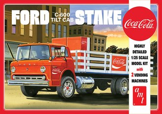 1:25 Ford C-600 COE Tilt Cab Stake Bed w/Coca-Cola Machines (2) (Model Kit)
