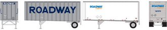 "28' Pup Trailers (2) w/Dolly ""Roadway Express"" (Silver/White)"