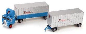 "Freightliner COE w/28' Double Pups ""Transcon"" (Aqua/Silver)"