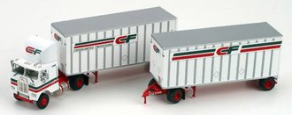 "Freightliner COE w/28' Double Pups ""CF - Consolidated Freightways"" (White)"
