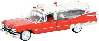 1:43 1959 Cadillac Miller-Meteor Ambulance (Red w/White Roof)