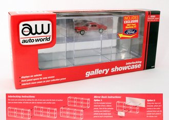 1:64 6-Car Interlocking Display Case w/Exclusive AW Car (1967 Ford Mustang GT Candy Apple Red)