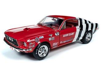 "1:18 1968 Ford Mustang Fastback ""Sandy Elliot"" (Red/White w/Blk Stripes & Sandy Elliot Graphics)"