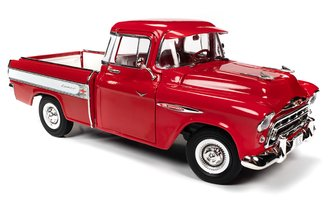1:18 1957 Chevrolet Cameo Pickup (Cardinal Red w/White Side Panel Trim)