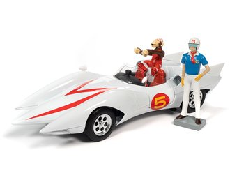 1:18 Speed Racer Mach 5 w/Chim-Chim Figure (Gloss White)