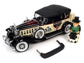 1932 Cadillac V16 Sport Phaeton Mr. Monopoly Car & Resin Figure (Cream w/Black Top & Fenders)