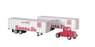 "1:87 1950s/60s Tractor w/2 Piggyback Trailers ""Santa Fe Piggy Back Service"""