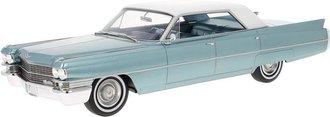 1:18 1963 Cadillac Sedan de Ville (Light Blue Metallic/White)