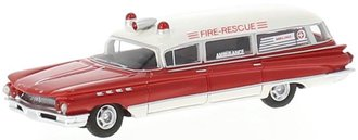 1:87 1960 Buick Flxible Premier Ambulance (Red/White)