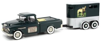 "1955 Chevrolet Cameo Pickup & BK-062-002 Horse Trailer ""Bluegrass Farms Kentucky"" (Dark Green/Silver)"