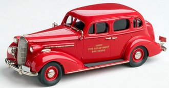 "1:43 1936 Buick Special 4-Door Sedan ""Baltimore Fire Chief"" (Red)"