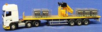 DAF XF Space Cab Sided Crane Trailer w/Load