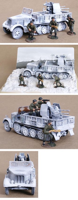Sd.Kfz.7/1 & Anti-Aircraft Gun & 3 German Infantry Figures - German Army