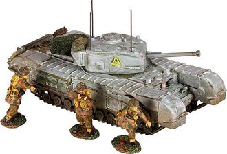 Churchill Mk.VII Tank & 3 British Paratrooper Figures - British Army, Holland