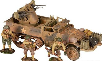 M16 Quad .50 Halftrack & 3 US Infantry Figures - US Army, France 1944