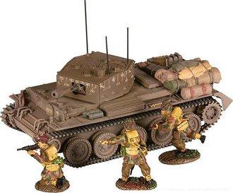 Cromwell Centaur MKIV Tank & 3 British Paratrooper Figures (Normandy 1944)