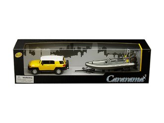 1:43 Toyota FJ Cruiser (Yellow/White) w/Speed Boat & Trailer (Gray)