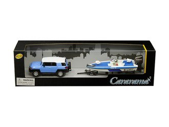 1:43 Toyota FJ Cruiser (Blue/White) w/Trailer & Speedboat (Blue/White)