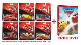 Set of 6 Cars 3 Vehicles + FREE Cars 3 DVD