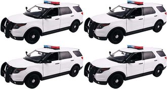 Quantity of 4 - 1:18 2015 Ford PI Utility Police (White - Undecorated)