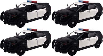 Quantity of 4 - 1:18 2015 Ford PI Utility Police (Black/White - Undecorated)