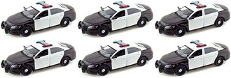 Quantity of 6 - 1:24 Ford Police Interceptor Police Car (Black/White - Undecorated)