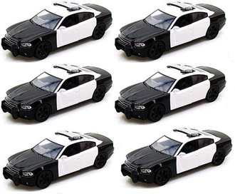 1:24 Quantity of 6 - Dodge Charger Police (Black/White - Undecorated)