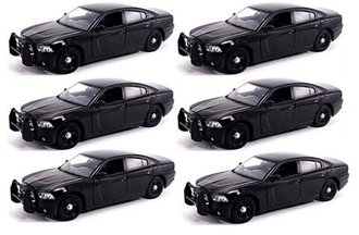 1:24 Quantity of 6 - Dodge Charger Police Slicktop (Black - Undecorated)