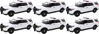 1:24 Quantity of 6 - 2015 Ford PI Utility Police (White - Undecorated)