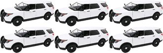 1:24 Quantity of 6 - 2015 Ford PI Utility Police Slicktop (White - Undecorated)
