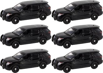 Quantity of 6 - 1:43 2015 Ford PI Utility Police (Black - Undecorated)