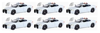 Quantity of 6 - 1:24 Lights & Sound - Dodge Charger Police Pursuit (White - Undecorated)