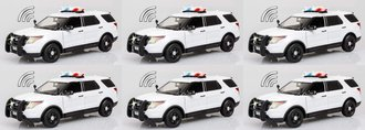 Quantity of 6 - 1:24 Lights & Sound - 2015 Ford PI Utility Police (White - Undecorated)