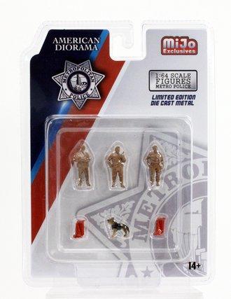Chase American Diorama 1:64 Figures - Metro Police Figures w/K-9 Dog *** Unpainted ***