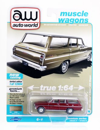 Chase 1:64 1963 Chevy II Nova 400 Station Wagon (Version A) *** Ultra Red Chrome Version ***