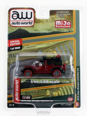 Chase 1:64 2018 Jeep Wrangler Rubicon Unlimited 4x4 w/Roof Rack *** Ultra Red Chrome Version ***
