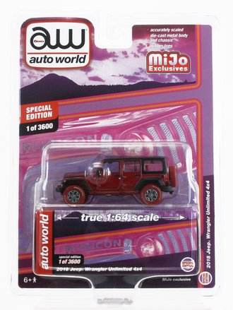 Chase 1:64 2018 Jeep Wrangler Rubicon Unlimited 4x4 *** Ultra Red Chrome Version ***